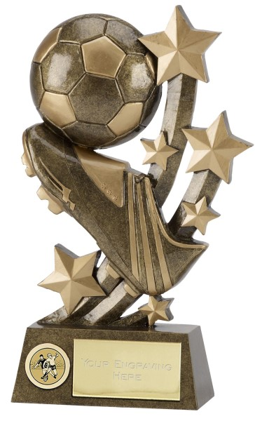 Sentinel Football Boot and Ball Resin Trophy 6""