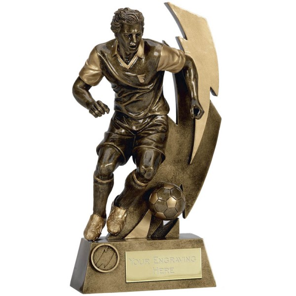 Gold Flash Football Player Trophy 22cm