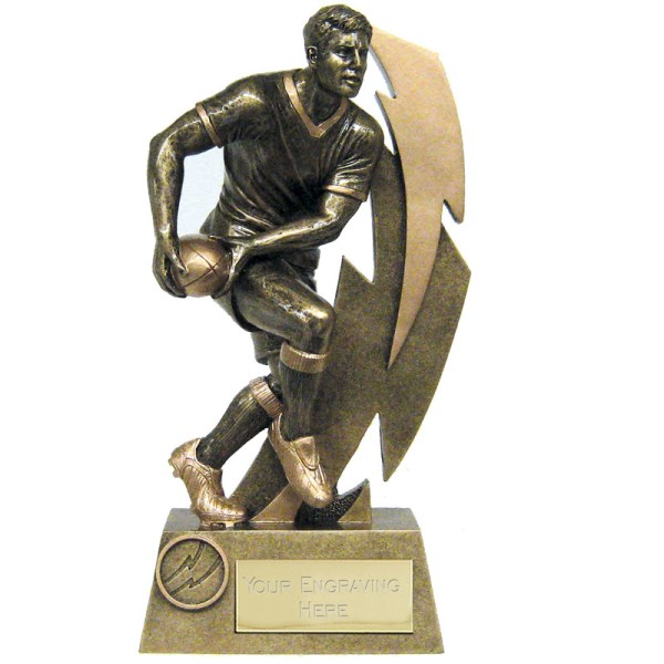 Gold Flash Rugby Player Column Trophy