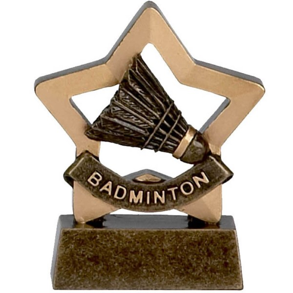 Mini Star Resin Badminton Trophy