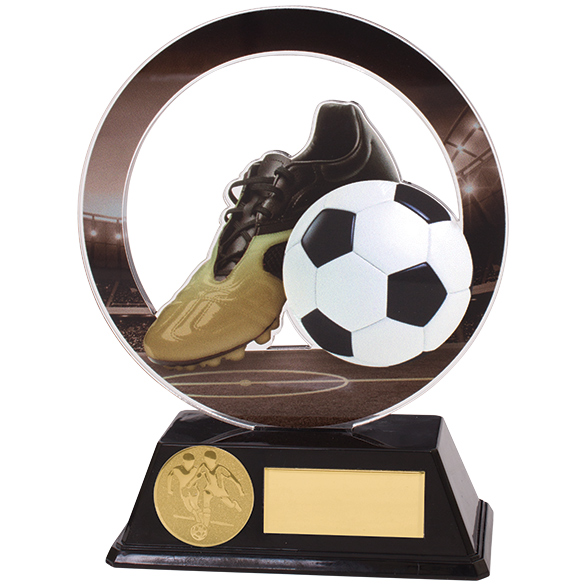 Dominion Football Boot & Ball Acrylic Plaque 140mm