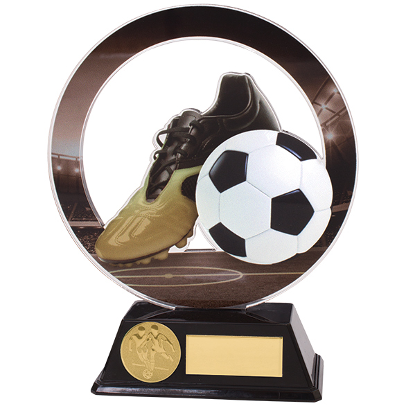 Dominion Football Boot & Ball Acrylic Plaque 150mm