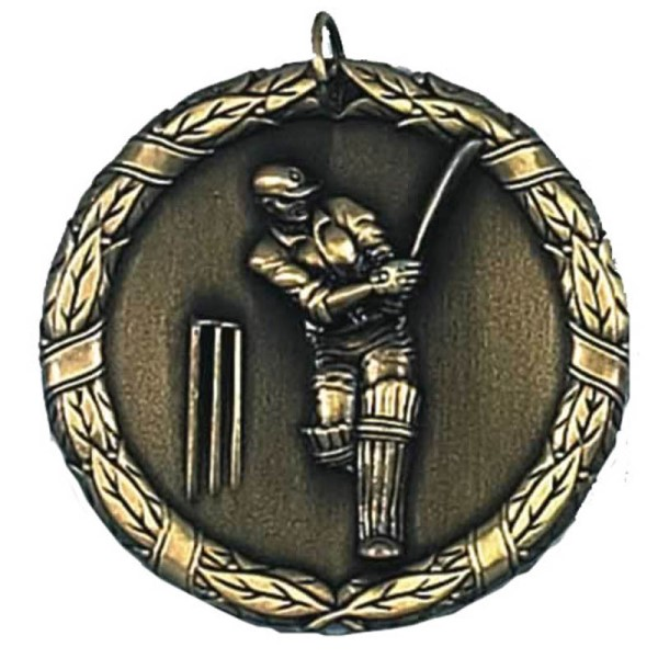 Laurel 50mm Cricket Medal Gold
