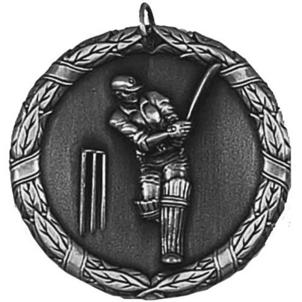 Laurel 50mm Cricket Medal Silver