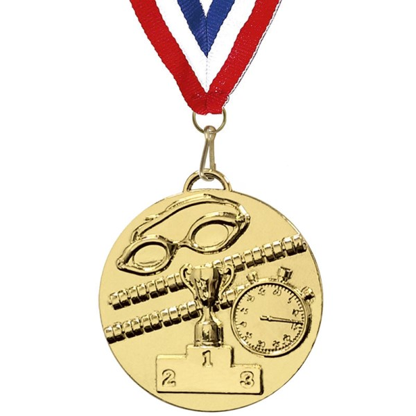 Target 50mm Swimming Medal with ribbon