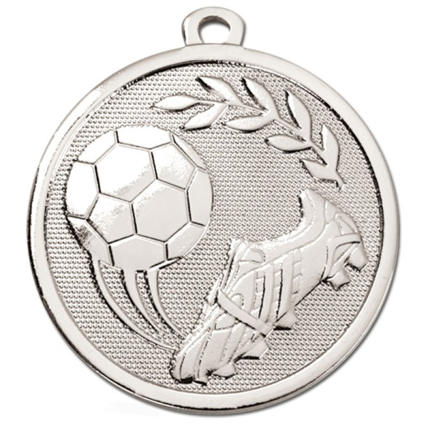 GALAXY Football Boot & Ball Medal Silver