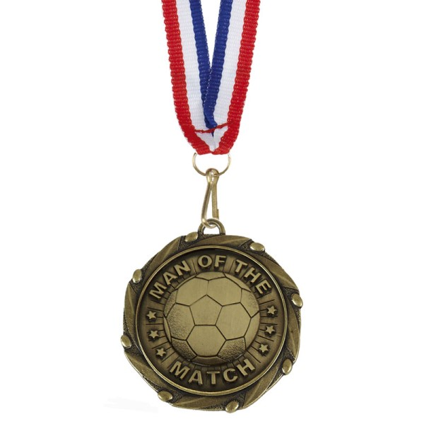 Combo Football Man of the Match Medal with ribbon Gold