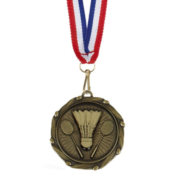 Combo Badminton Medal and Ribbon