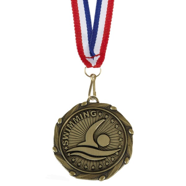 COMBO Swimming Medal with 10mm R/W/