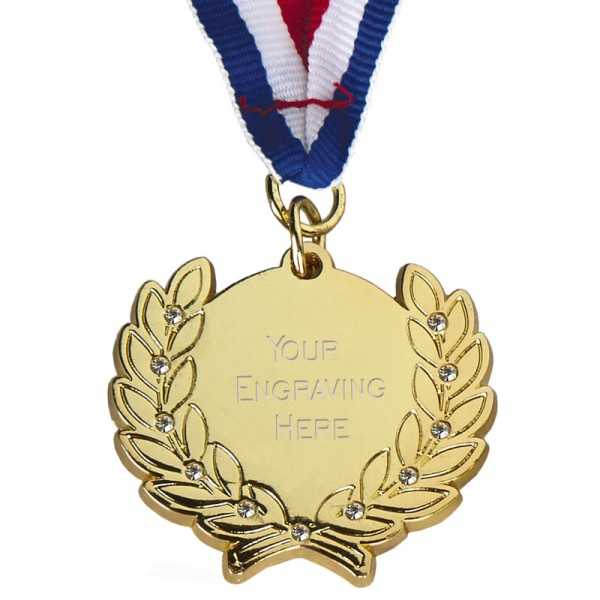 Diamond Bling Gold Medal with Ribbon