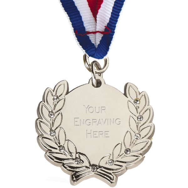 Diamond Bling Silver Medal with Ribbon