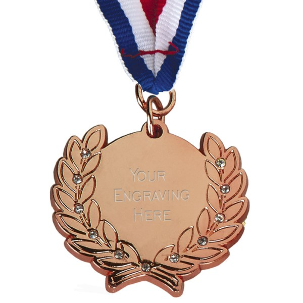 Diamond Bling Bronze Medal with Ribbon