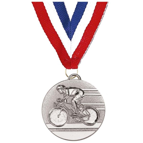 Target50 Cycling Medal with Ribbon - Silver