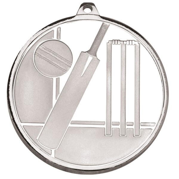 Frosted Glacier Cricket Medal Silver