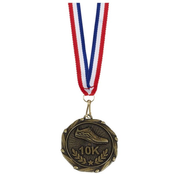 Combo 10K Running medal and ribbon