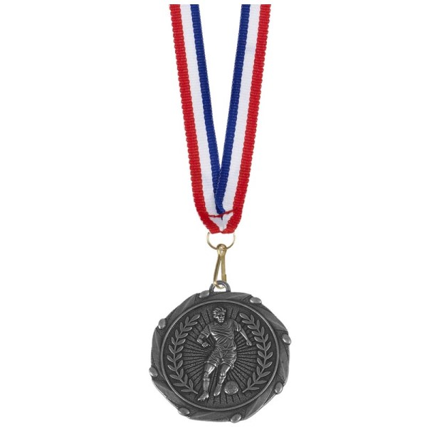Combo Football Player medal and ribbon Silver