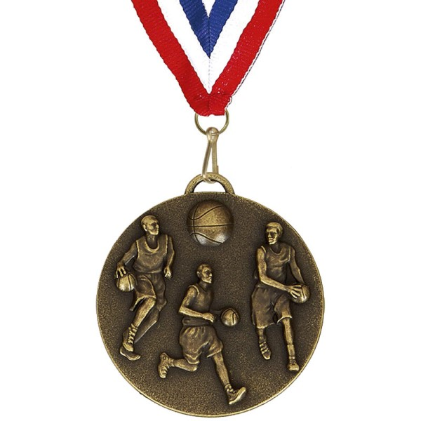 Target 50mm Bronze Basketball Medal with Ribbon