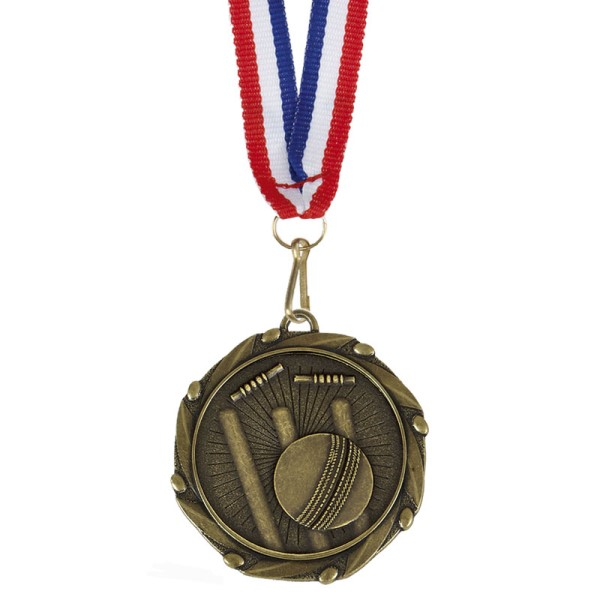 Combo Cricket Medal with ribbon Gold