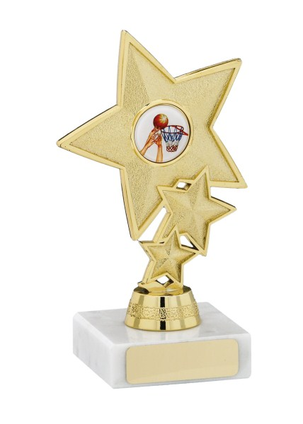 Shimmering Triple Star Gold Marble Trophy