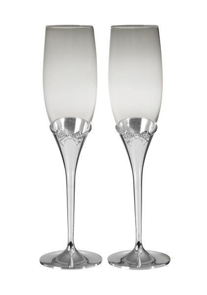 Crystal Bow Champagne Flutes with Silver Plated Stems.