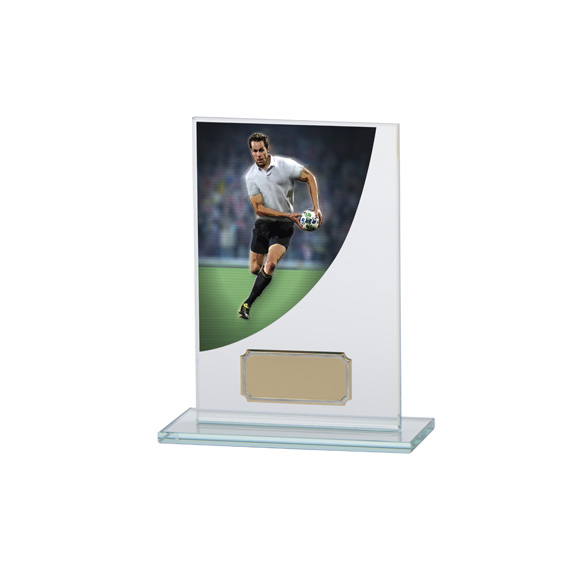 Rugby Colour-Curve Jade Crystal Award 140mm