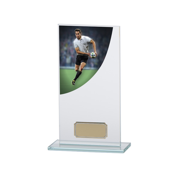 Rugby Colour-Curve Jade Crystal Award 180mm