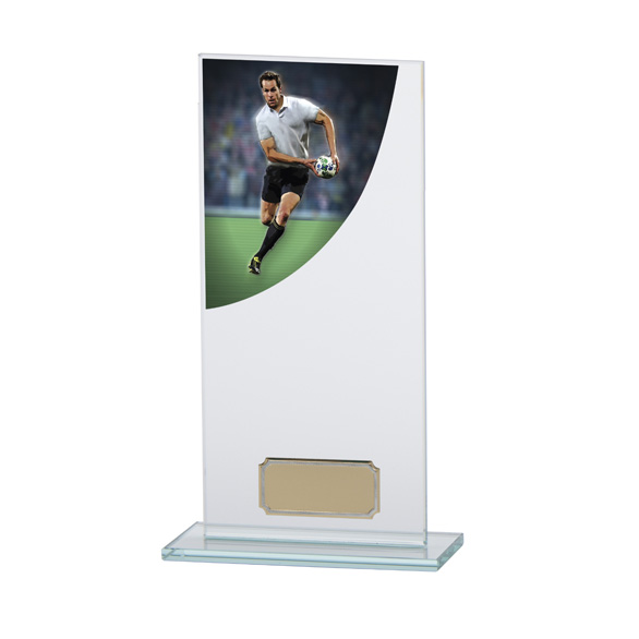 Rugby Colour-Curve Jade Crystal Award 200mm