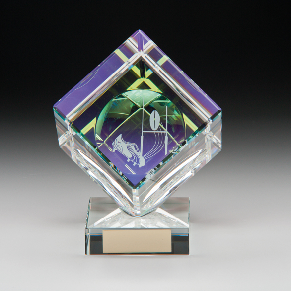 3D Rugby Crystal Cube Trophy