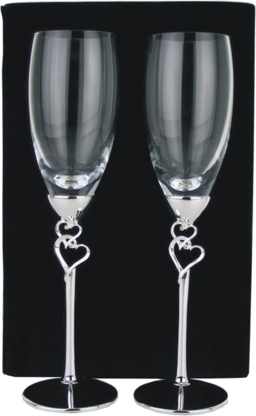 Set of 2 Crystal Champagne Flutes with Silver Plated Stem