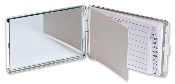 Chrome Plated Address Book with Mirror