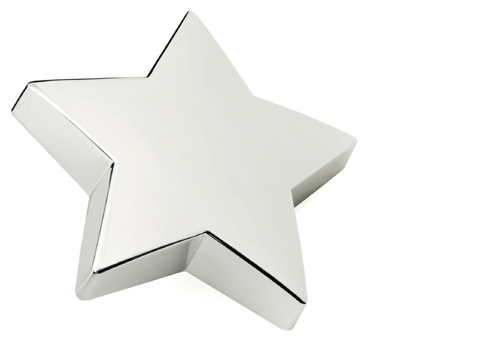 Silver Plated Flat Star Paperweight