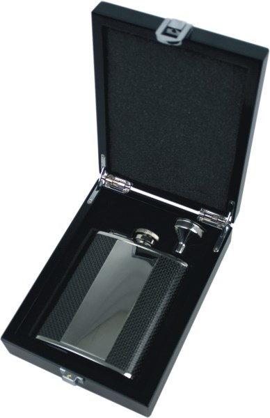 6oz Vertical Carbon Fibre Panel Hip Flask Set