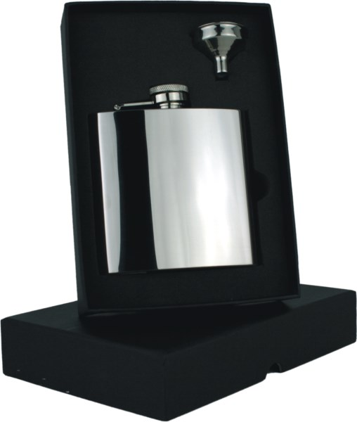 6oz Polished Hip Flask Set