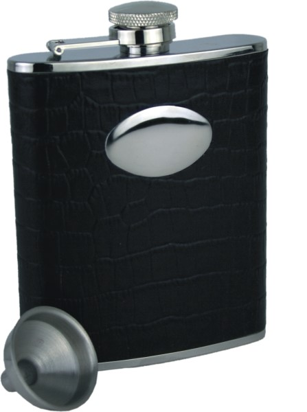 Black Faux Croc Stainless Steel Hipflask