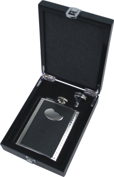 6oz Oval Carbon Fibre Panel Hip Flask Set