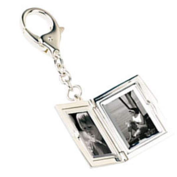 Rectangular Silver Photo Locket Keyring