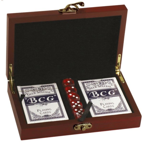 Rosewood Finish Card & Dice Presentation Set