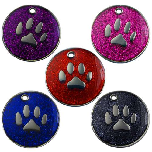 Paw Print Glitter Pet Tag 32mm