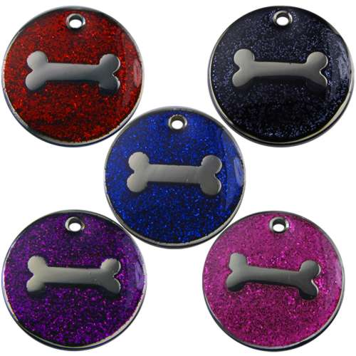 Bone Glitter Pet Tag 32mm