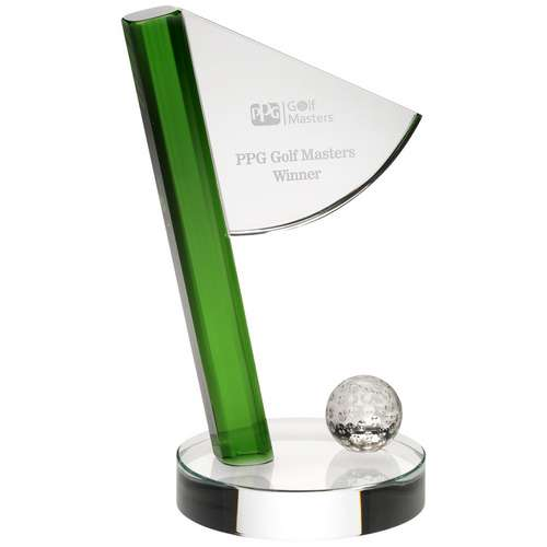 CLEAR/GREEN GLASS GOLF FLAG  AND BALL AWARD - 8.25in