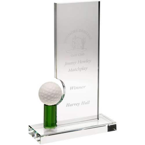 CLEAR/GREEN GLASS RECTANGLE WITH GOLF BALL (10MM THICK) - 8in