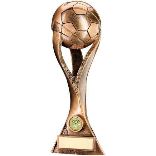 BRZ/GOLD FOOTBALL ON 3 PRONGED RISER TROPHY - (1in CENTRE) 13.5i