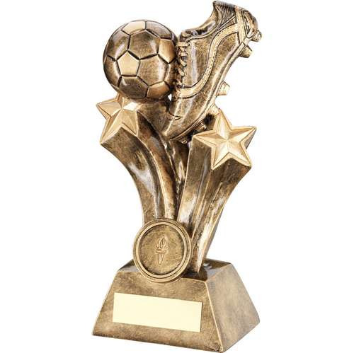 GOLD RESIN FOOTBALL BOOT & BALL ON STARS TROPHY -