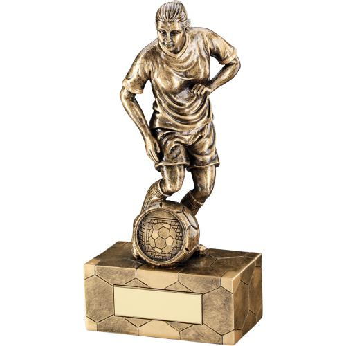 GOLD FEMALE FOOTBALL FIGURE TROPHY - 14.5cm