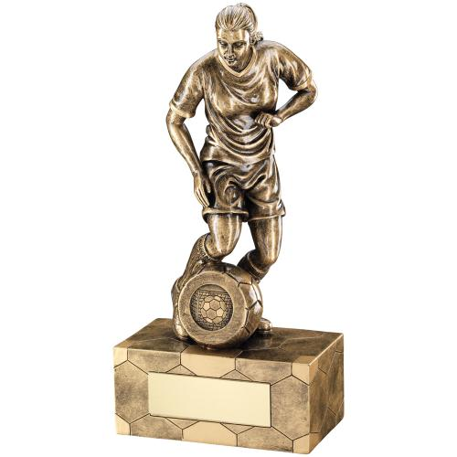 GOLD FEMALE FOOTBALL FIGURE TROPHY - 22.25cm