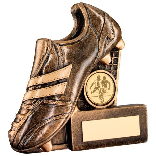 BRZ/GOLD RESIN FOOTBALL BOOT+NET FLATBACK TROPHY - (1in CENTRE)