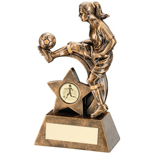 BRZ/GOLD FEMALE FOOTBALL FIGURE TROPHY - (1in CENTRE) 8.5in