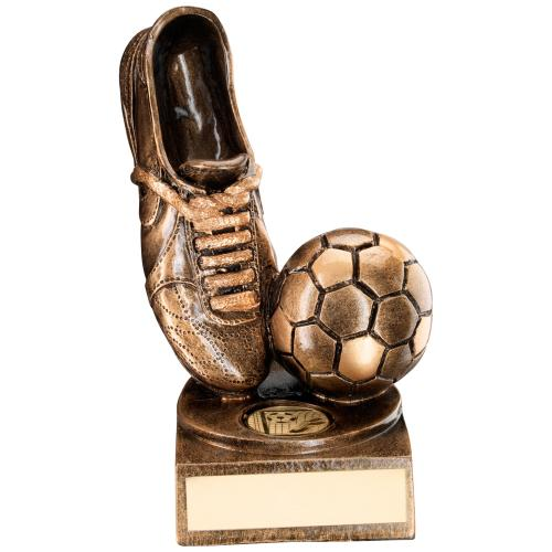 BRZ/GOLD RESIN FOOTBALL+BOOT TROPHY - (1in CENTRE) 3in