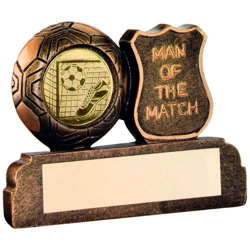 GOLD RESIN FOOTBALL 'MAN OF THE MATCH' TROPHY -