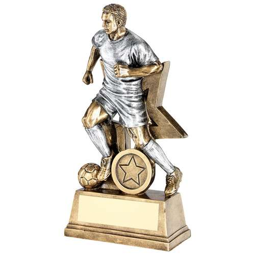 BRZ/PEW MALE FOOTBALL FIGURE WITH STAR BACKING TROPHY (1in CENTR